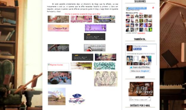 Captura de pantalla de la página de afiliados de este gran blog