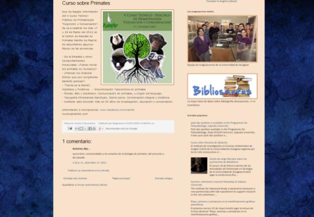 Captura de pantalla de uno de los artículos de este blog del Mesozoico y el Cuaternario