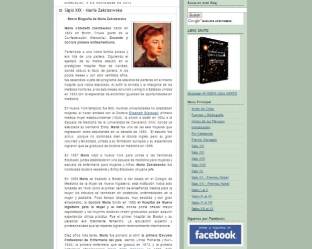 Captura de pantalla de uno de los artículos de este gran blog de Historia de las mujeres