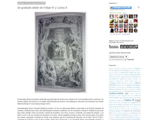 Captura de pantalla de uno de los artículos de este gran blog sobre Carlos II