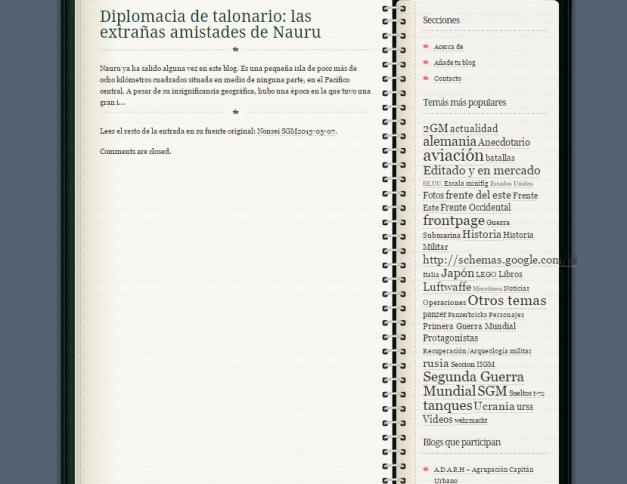 Captura de pantalla de uno de los enlaces a blogs de este gran blog de concentración
