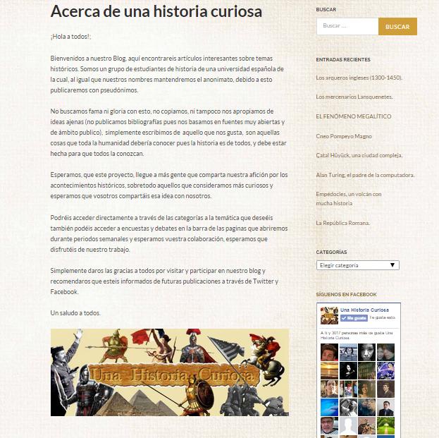 Captura de pantalla del artículo de bienvenida de este gran blog de curiosidades históricas