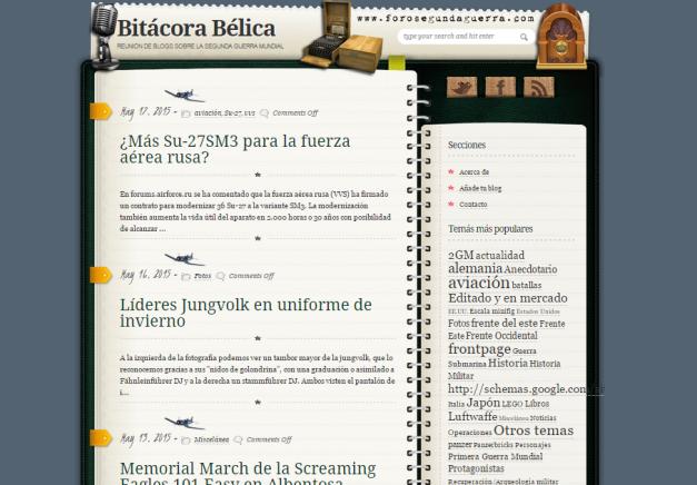 Captura de pantalla general de este gran blog de concentración de blogs de Historia militar