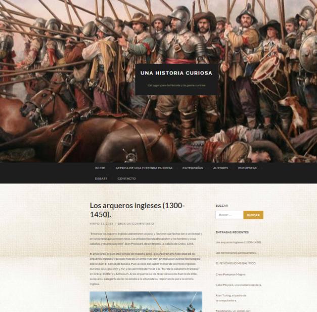 Captura de pantalla general de este gran blog de curiosidades de la Historia