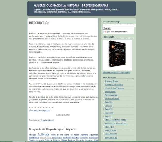 Captura de pantalla general de este gran blog de Historia de las mujeres