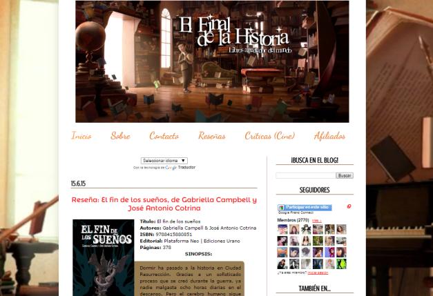 Captura de pantalla general de este gran blog de reseñas literarias