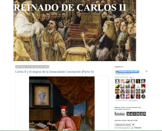Captura de pantalla general de este gran blog sobre Carlos II de España