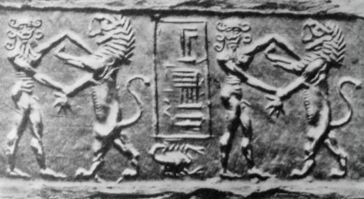 Cilindro en el que se ve a Gilgamesh luchando contra un león