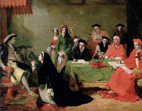 Cuadro en el que se ve a Catalina de Aragón suplicando a Enrique VIII durante el juicio contra ella