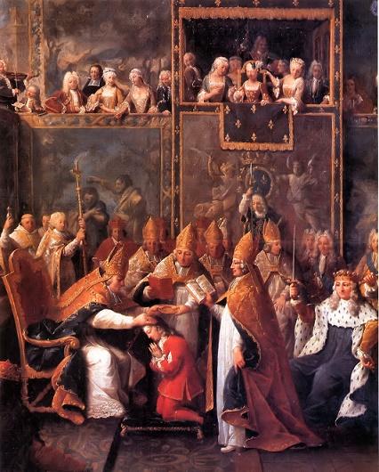 Cuadro que refleja la Coronación de Luis XIV en la catedral francesa de Reims