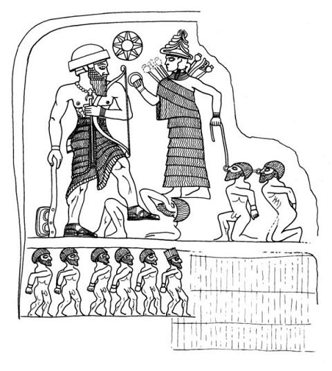 Dibujo hecho a partir de un relieve del rey lullubi Anubanini