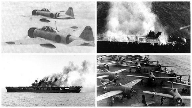 Diversas fotos de la batalla de Midway