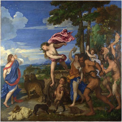 """""""Bacco y Ariadna"""", Tiziano, 1520-23. Un buen ejemplo extensivo de la paleta veneciana del pintor."""