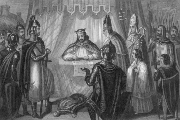 """Escena en la que se ve al rey inglés Juan """"Sin Tierra"""" firmando la Carta Magna en 1215"""