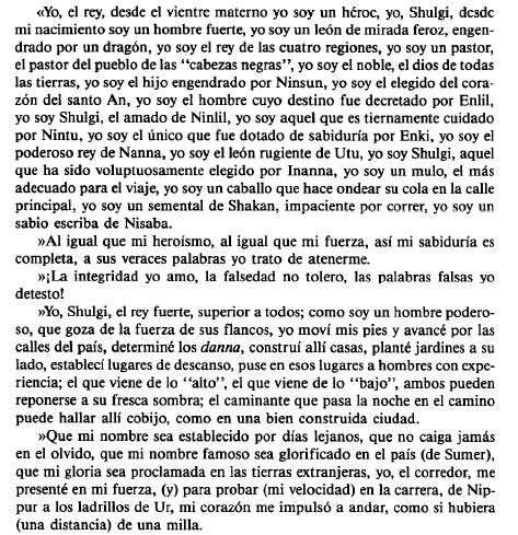 Fragmento de la transcripción del Himno Real del rey Shulgi