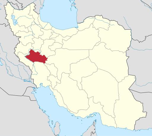 Mapa en el que se señala Luristán, al sur de los Montes Zagros