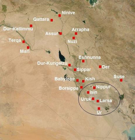 Mapa mesopotámico en el que se ven las ciudades de Larsa e Isin