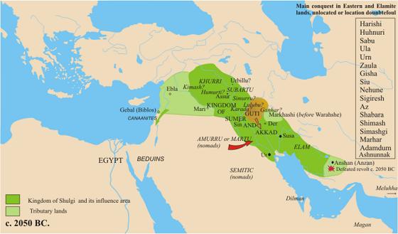 Mapa político y económico a mediados del siglo XXI a.C.