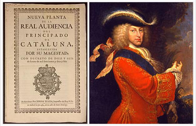 Portada de los Decretos de Nueva Planta, hechos por Felipe V