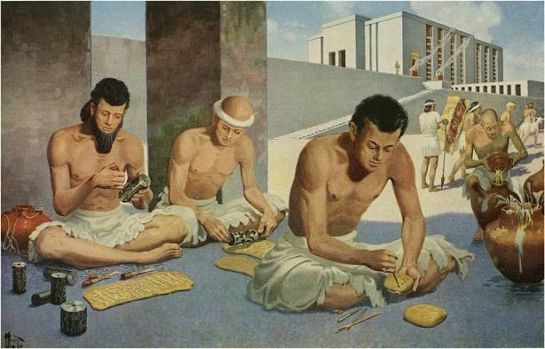 Reconstrucción de unos escribas llevando a cabo su oficio