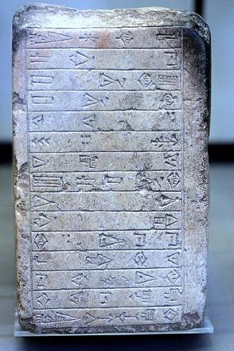 Tablilla en la que se menciona a los pueblos Guti