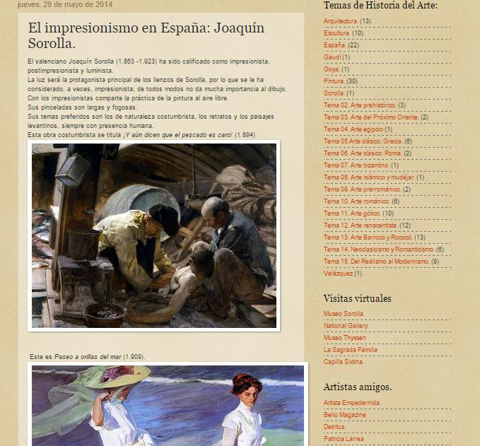 Captura de pantalla de un artículo de este gran blog de Historia del Arte