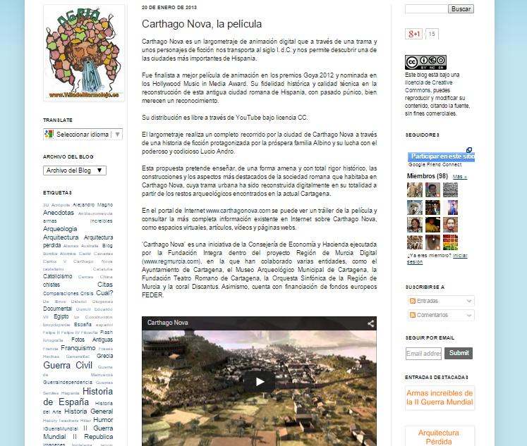 Captura de pantalla de uno de los artículos de este gran blog de curiosidades de la Historia