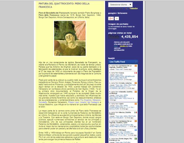 Captura de pantalla de uno de los artículos de este gran blog de Historia del arte