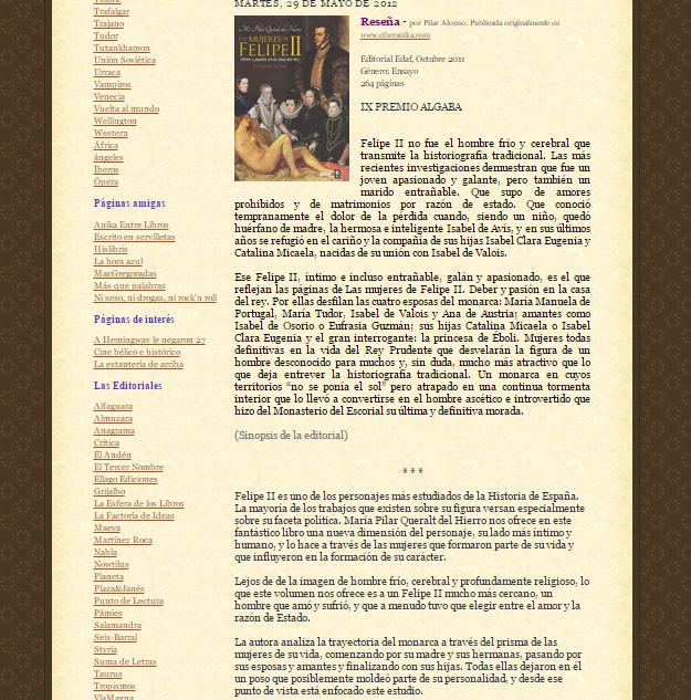 Captura de pantalla de uno de los artículos de este gran blog de recomendaciones literarias