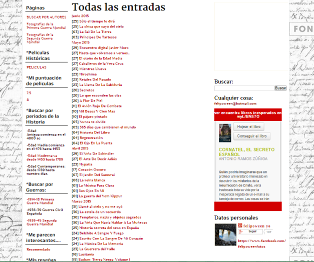 Captura de pantalla del índice global de entradas de este gran blog