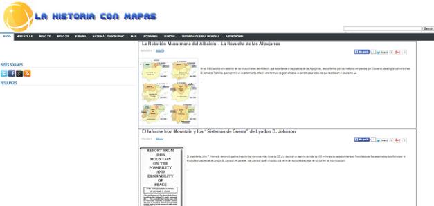 Captura de pantalla general de esta gran web de Historia con mapas
