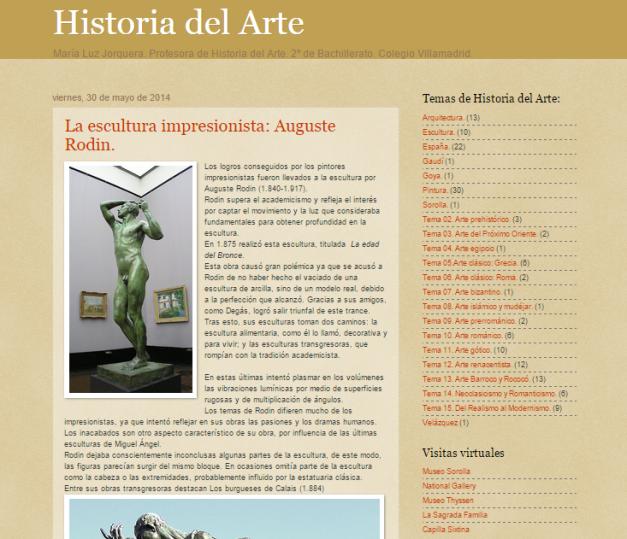 Captura de pantalla general de este blog de Historia del Arte