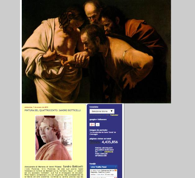 Captura de pantalla general de este gran blog de Historia del arte