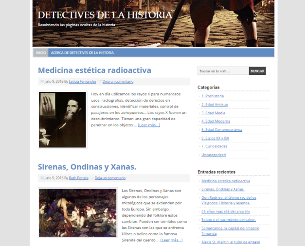 Captura de pantalla general de este gran blog de misterios de la Historia