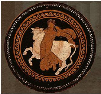 Cerámica en la que se representa el rapto de Europa por parte de Zeus