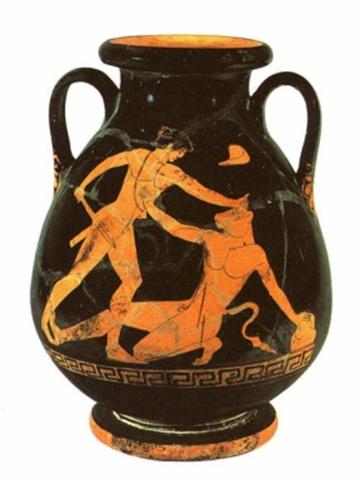 Cerámica representando a Teseo matando al minotauro