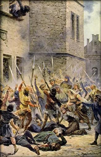 Cuadro que representa la primera defenestración de Praga en 1419