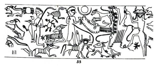 Dibujo de las figuras mostradas en un sello cilíndrico contemporáneo a Enlil-bani