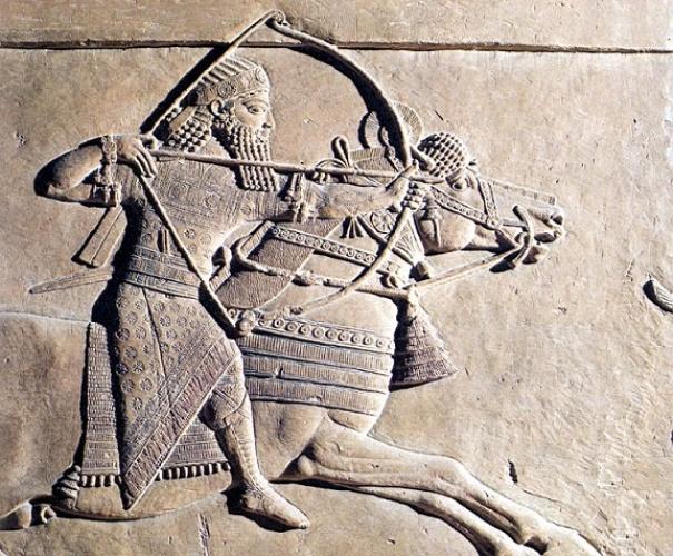 Escena de cacería en el palacio del rey neoasirio Assurbanipal
