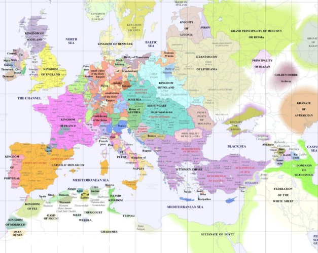 Mapa político europeo hacia 1500
