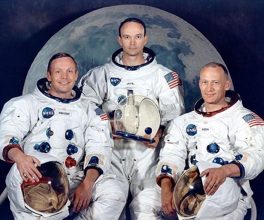 Fotografía de los tres astronautas de la nave Apolo 11