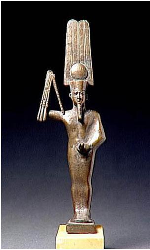 Imagen del dios Min, dios de la fertilidad, que era adorado para que las cosechar fueran fructíferas