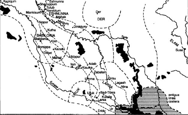 Mapa de la Baja Mesopotamia durante el periodo Isin-Larsa