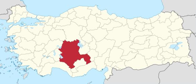 Mapa político de Turquía que muestra la ubicación actual de la provincia de Konya