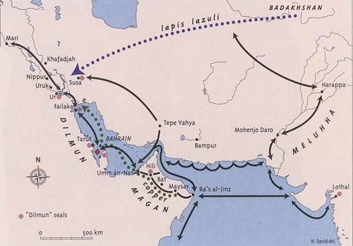 Mapa que explica el tráfico comercial de Dilmun