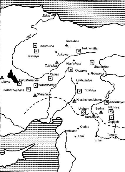 Mapa que muestra la ubicación de los karum (cuadrados) y los wabartum (triángulos)