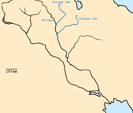 Mapa que muestra la ubicación del Río Tigris y Zab superior