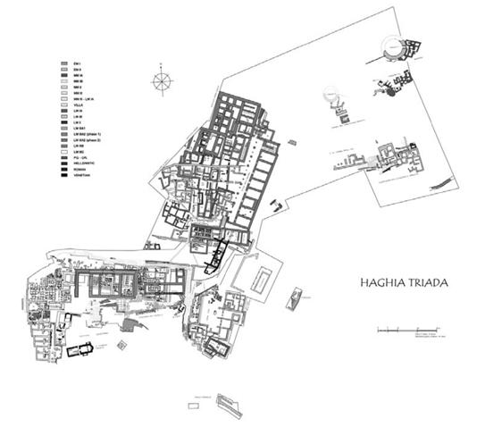 Plano de la villa regia de Haghia Triada