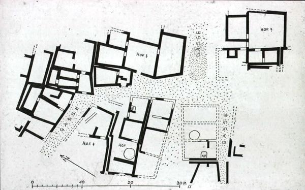 Plano parcial que muestra la planta del karum de Kanesh