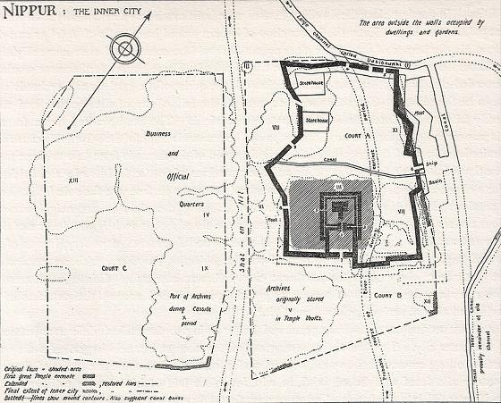 Plano urbanístico de la ciudad de Nippur